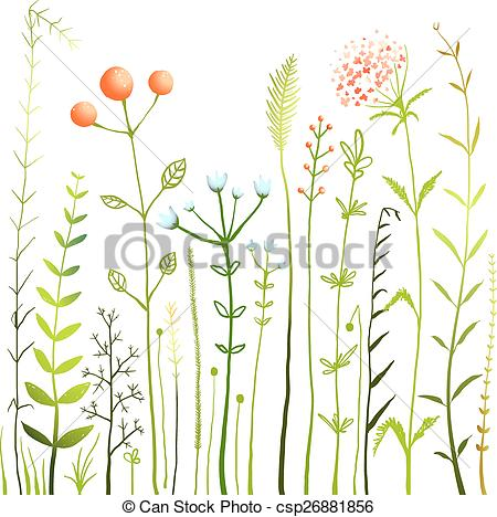 Clipart Vector of Flowers and Grass on White Grassland Collection.