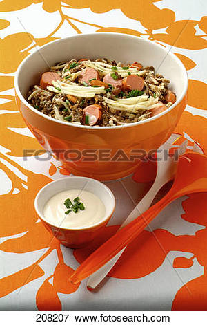 Picture of Lentil salad with sausages,dried fruit and grated.