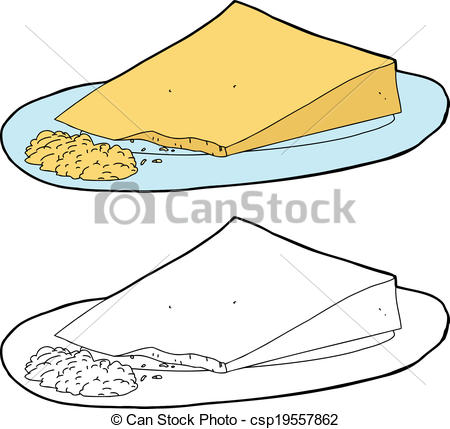 Clip Art Vector of Grated Cheese and Wedge.
