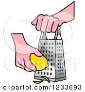 Clipart of a Black and White Hand Grating a Lemon.