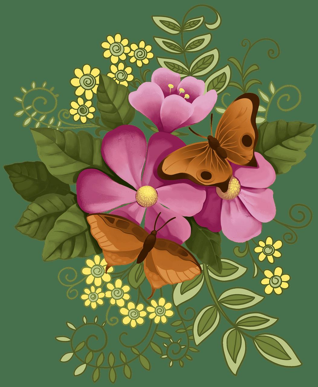 Blomster og sommerfugle. Gratis download..