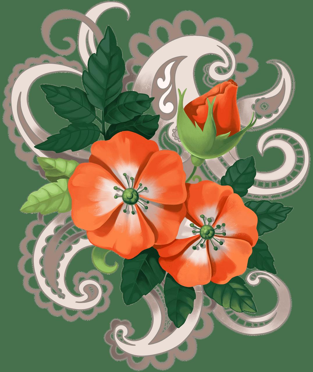 Orange blomster. Gratis download..