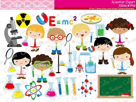 Cute Scientist Digital Clipart, Mad Scientist clip art.