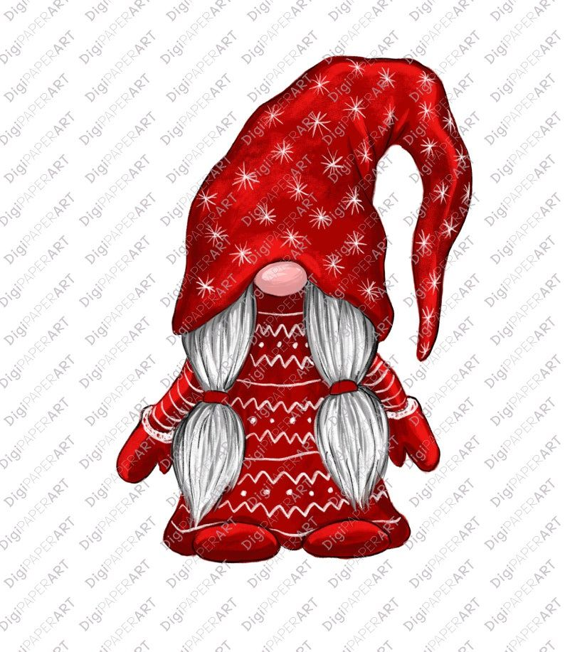Christmas PNG, Gnome Clipart, Scandinavian Gnomes Clipart.