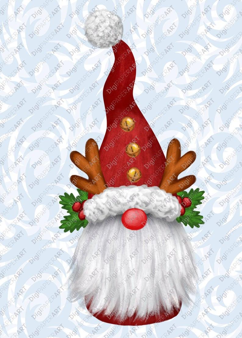 Gnome Reindeer Christmas PNG Clipart, Scandinavian Clipart.
