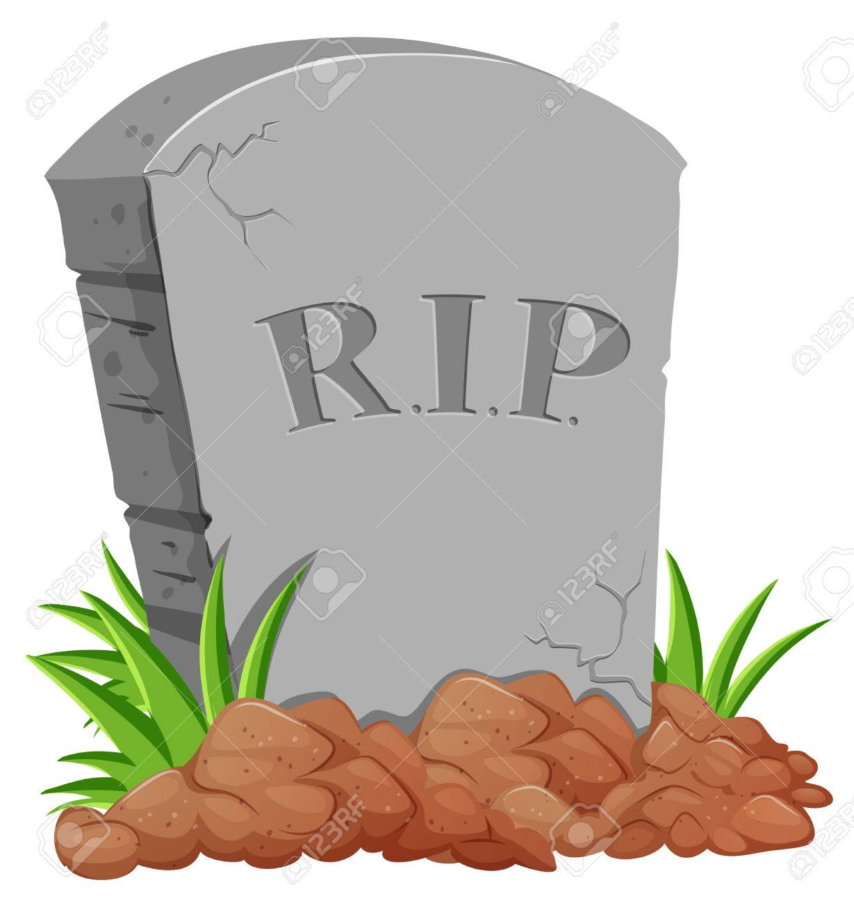 Grave stone on the ground illustration.