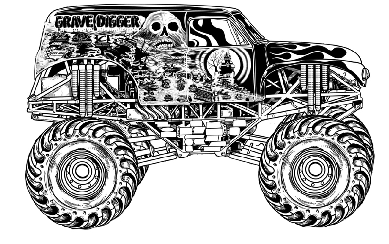 Download Grave Digger Monster Truck Coloring Pages Printable.