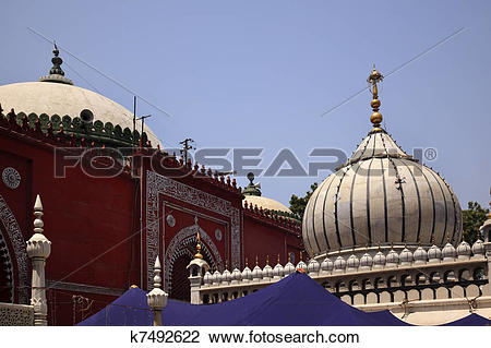 Stock Photo of Nizamuddin Complex Mosque Grave New Delhi India.