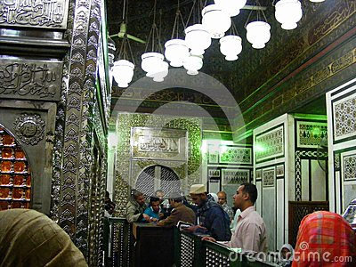 People Praying Inside Mosque Holy Grave Of Sayda Zainab In Egypt.
