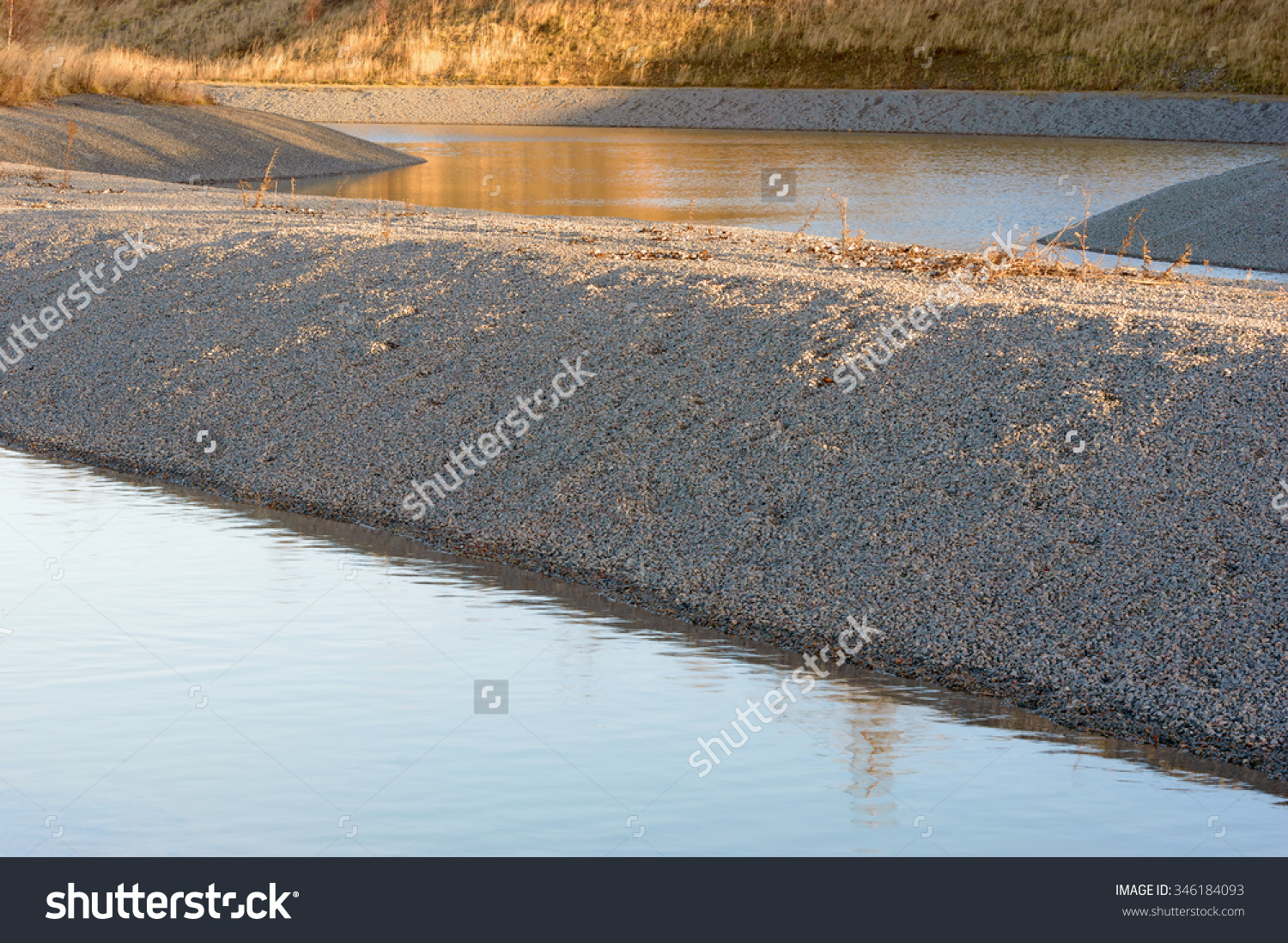 Gravel Water Purification Trench Canal Calm Stock Photo 346184093.