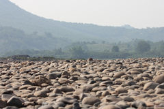 Gravel Bed Of The River Bed Stock Photo.