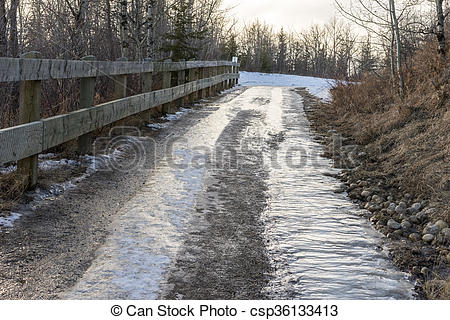 Stock Photography of Downhill gravel road during snow melt out.
