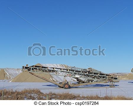 Stock Photo of gravel pit conveyor.