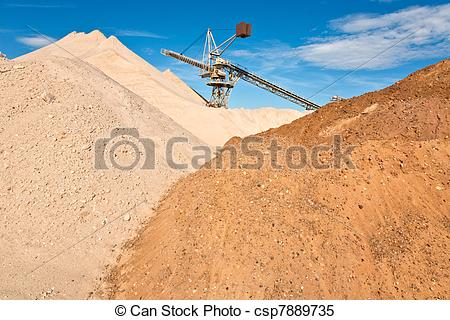 Stock Images of Conveyor on site at gravel pit hill csp7889735.