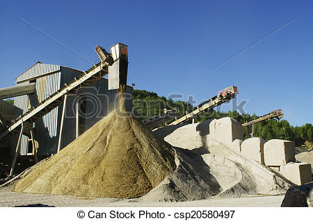 Stock Photographs of gravel pit operation that produces sand and.