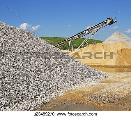 Stock Photography of Gravel mound at concrete plant u23489270.