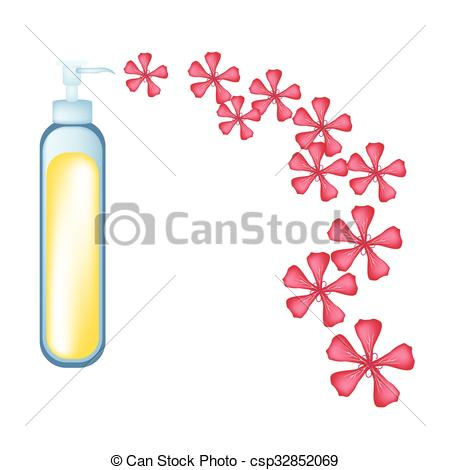 Clip Art Vector of Essential oil and Red Rose Geraniumor.
