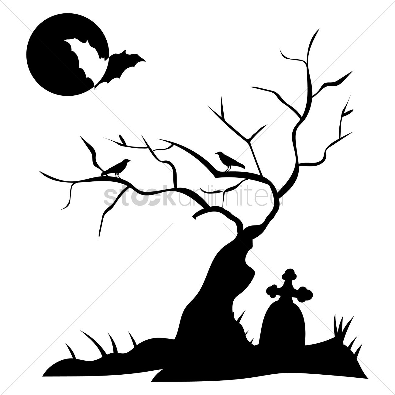 Grave clipart with tree.