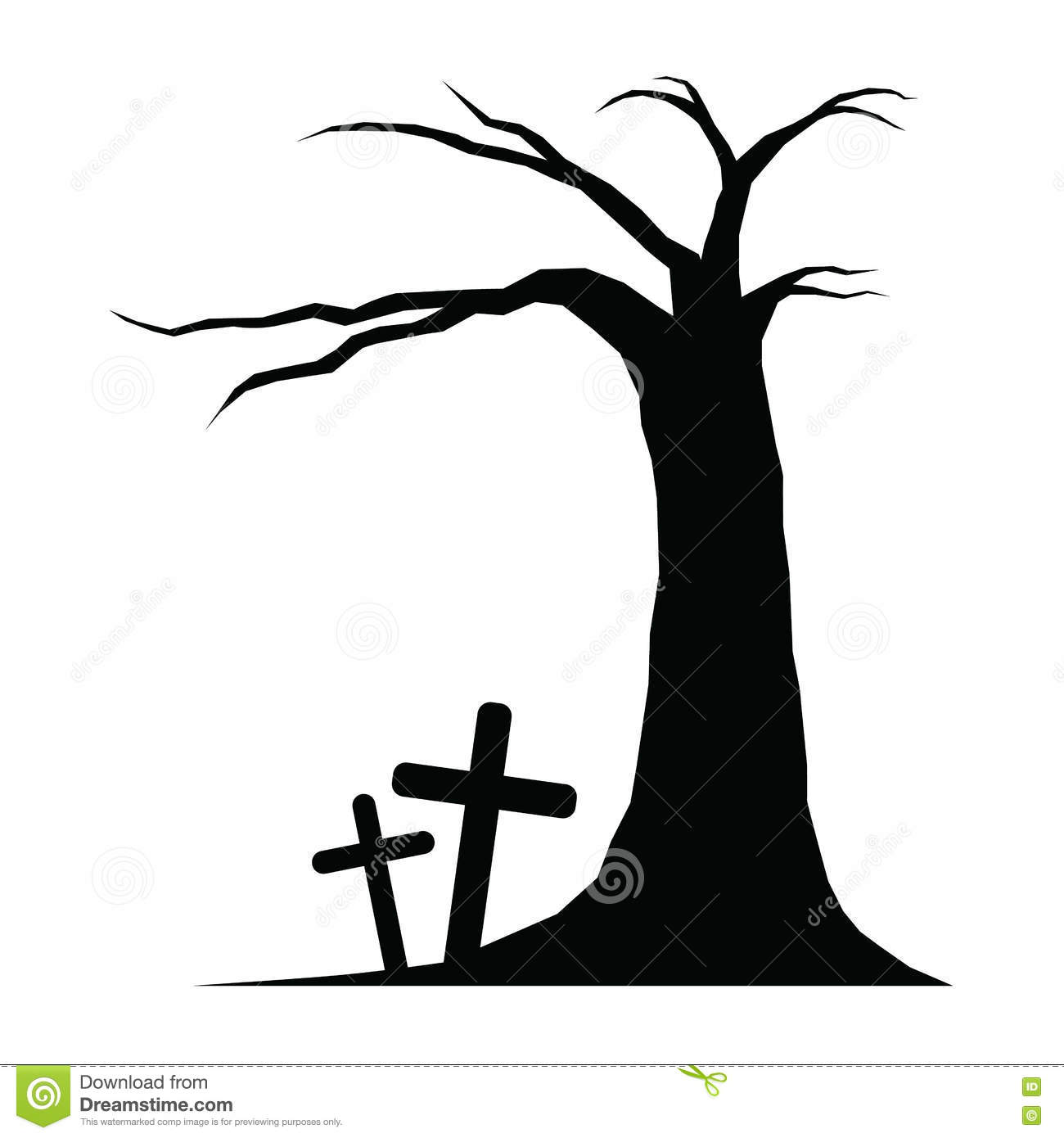 Tree And Graves Of Halloween Stock Vector.