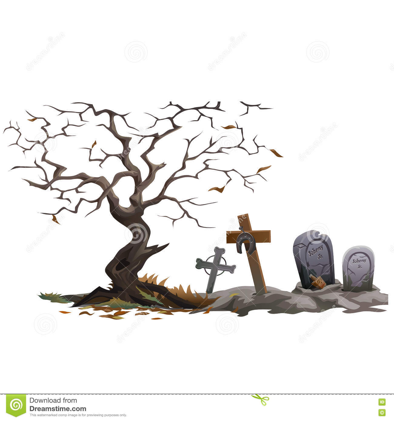 Dry Dead Tree And Cemetery With Graves Stock Vector.