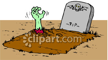 Zombie Hand Sticking Out Of Grave.