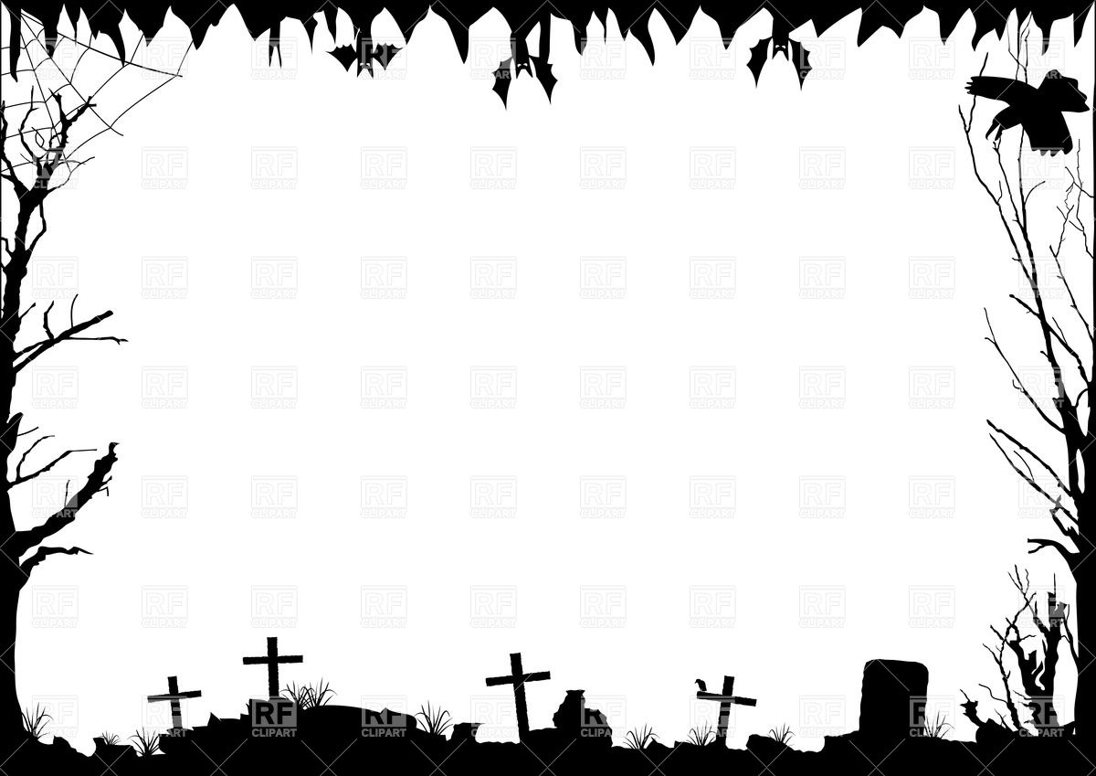 Halloween border with graves Vector Image #33760.