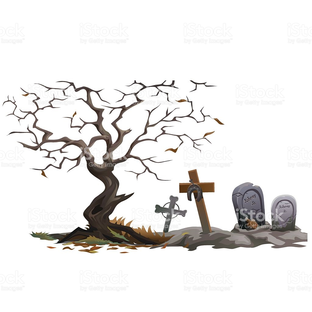 Dry Dead Tree And Cemetery With Graves stock vector art 541570038.