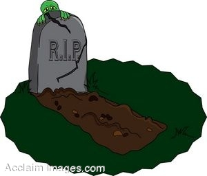 Clip Art of a Fresh Grave With a Monster Behind the Tombstone.