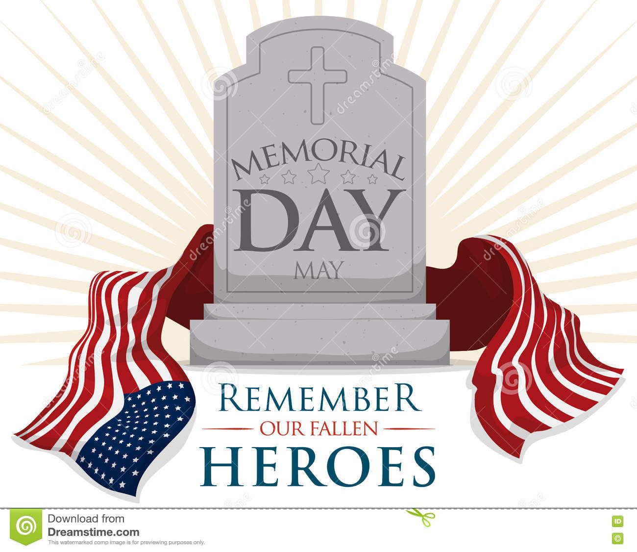Gravestone With USA Flag For Memorial Day, Vector Illustration.