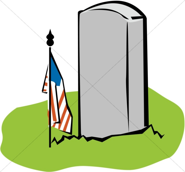 Blank Tombstone with Memorial American Flag.