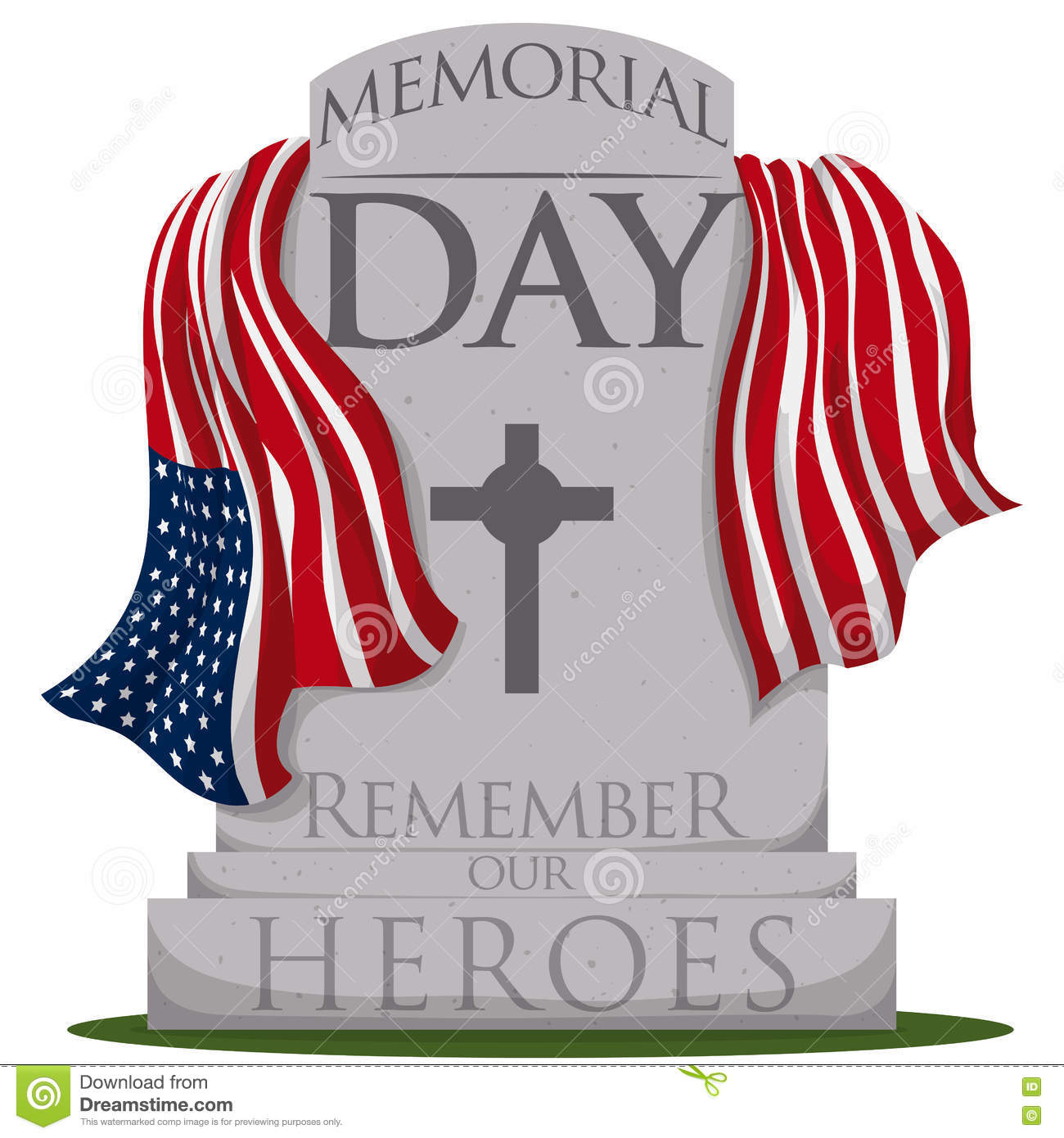 Traditional Gravestone With Flag For Memorial Day, Vector.