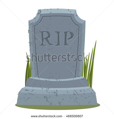 Old Gravestone With Cracks. Tomb Isolated. Grave On White.