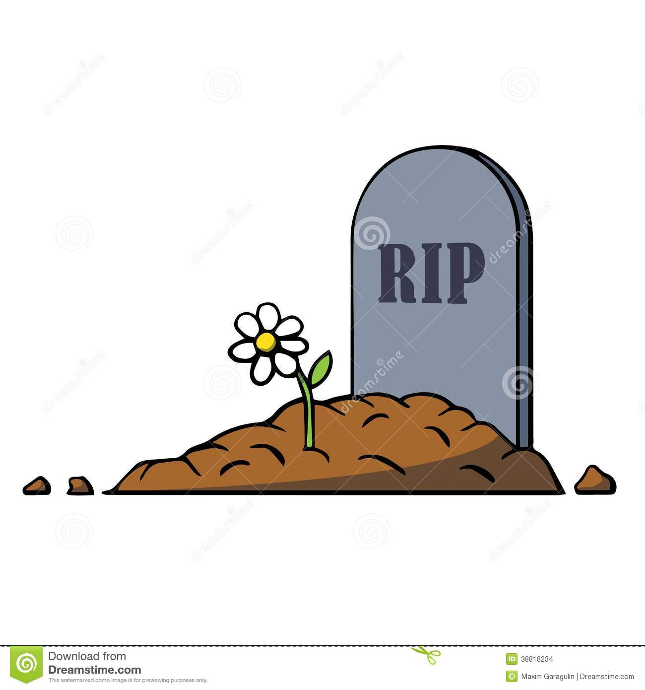 Grave With Flowers Clipart.