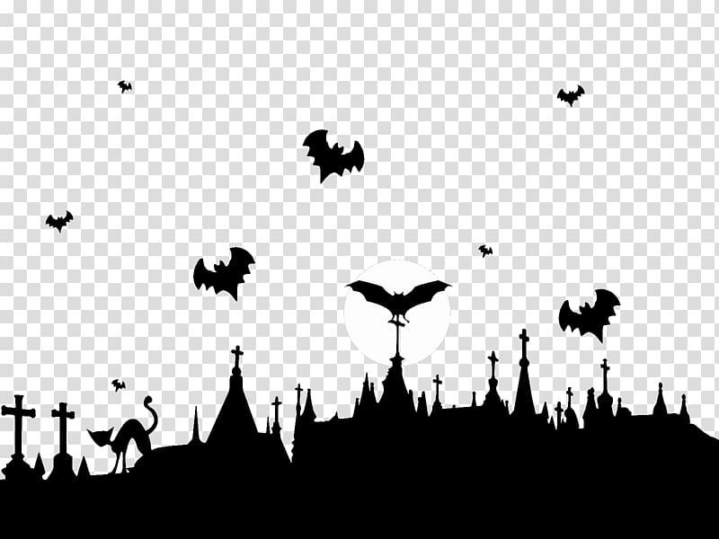 Bat cartoon illustration, Graveyard and Flying Bats.