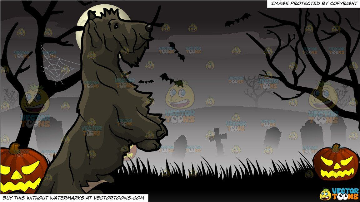 clipart #cartoon A Playfully Active Scottish Terrier Dog and.