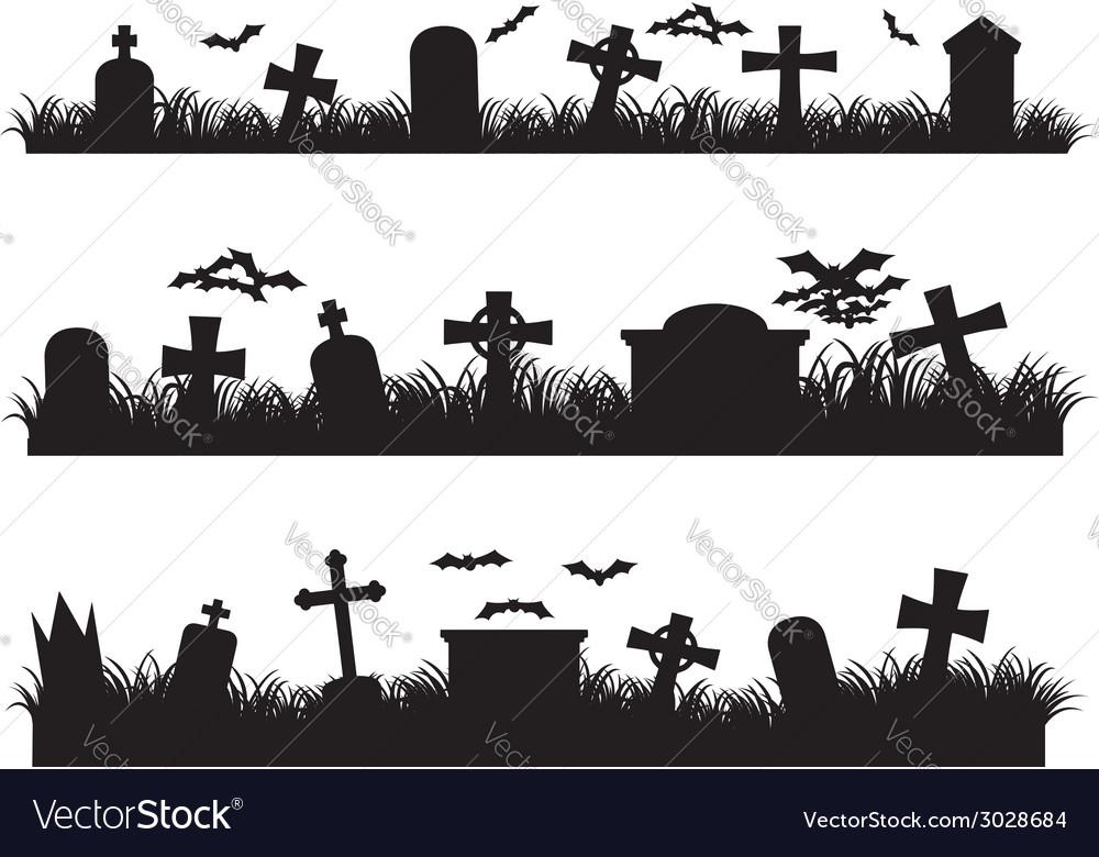 Halloween graveyard Royalty Free Vector Image.