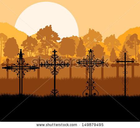 Halloween Spooky Graveyard Cemetery Vintage Background Stock.