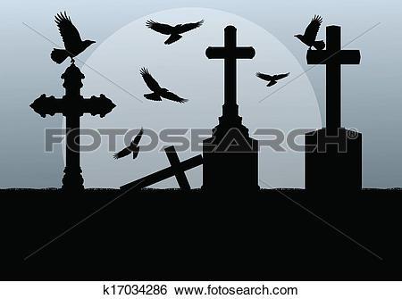 Clip Art of Halloween spooky graveyard, cemetery vintage.