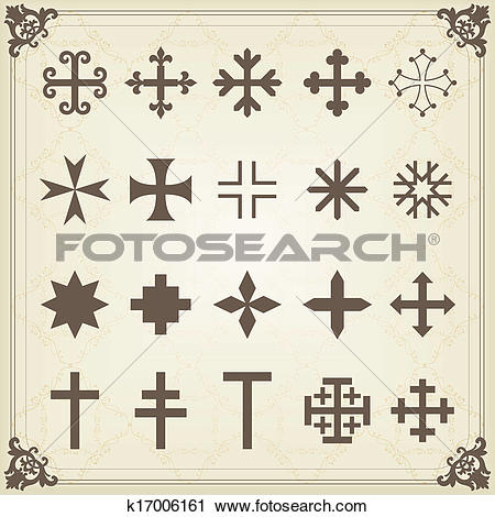Clipart of Vintage old cemetery crosses and graveyard cross.