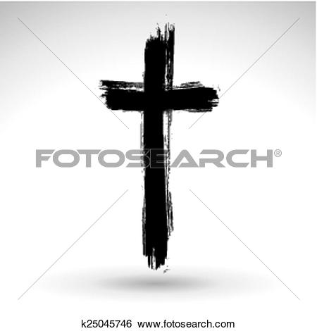 Clip Art of Hand drawn black grunge cross icon, k25045746.