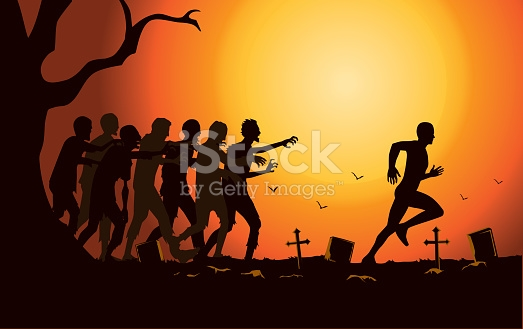 Runner Run Away From Zombie Group In The Graveyard stock vector.