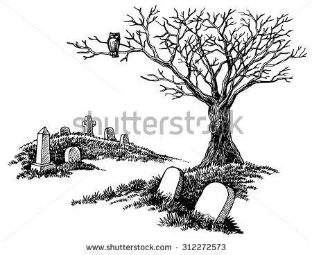 Handdrawn Spooky Graveyard Tombstones Tree Owl Stock Vector.