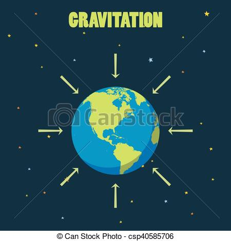 Vector Clipart of Gravitation on planet Earth . concept.