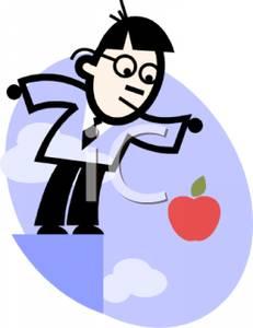 Cartoon of a Man Demonstrating Gravitation.