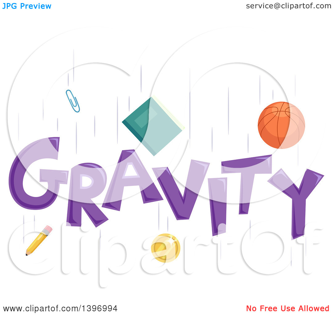 Clipart of a Basketball, Book, Paperclip, Coin and Pencil Falling.