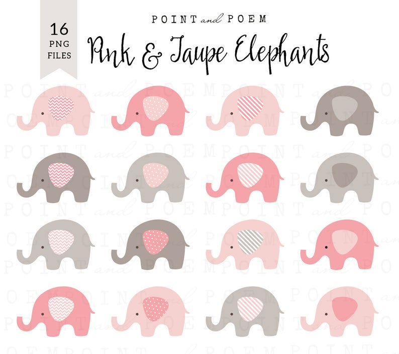 Elephants clip art, Cute Baby Elephants, Pink & Taupe Gray, Baby Girl Clip  Art Set, scrapbooking, party supplies, invites.