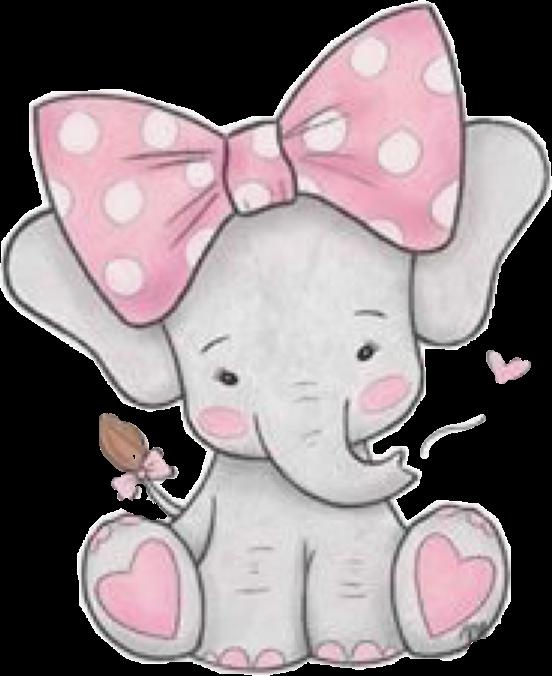 elephant #pink #grey #gray #cute #baby #bow #hearts.