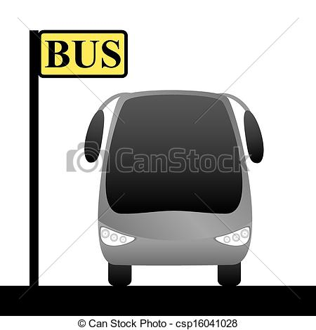 Vector Illustration of Illustration of a bus stop and bus.