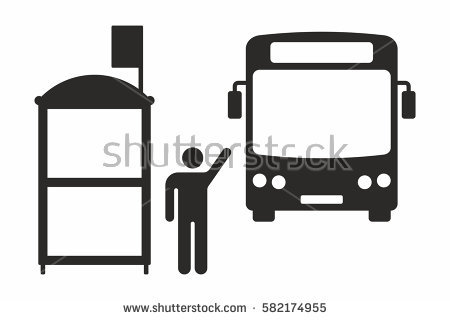 Bus Stop Icon Stock Images, Royalty.