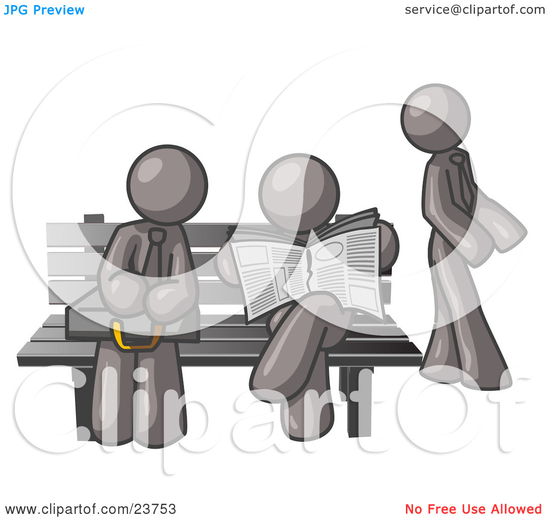 Clipart Illustration of Gray Men at a Bench at a Bus Stop by Leo.